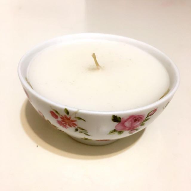 復古感香氛蠟燭花卉碗
