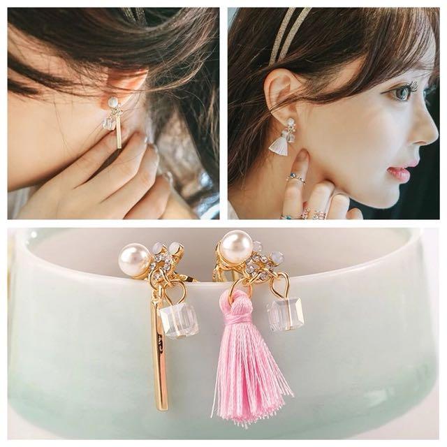 珍珠流蘇不對稱耳夾 無耳洞耳環