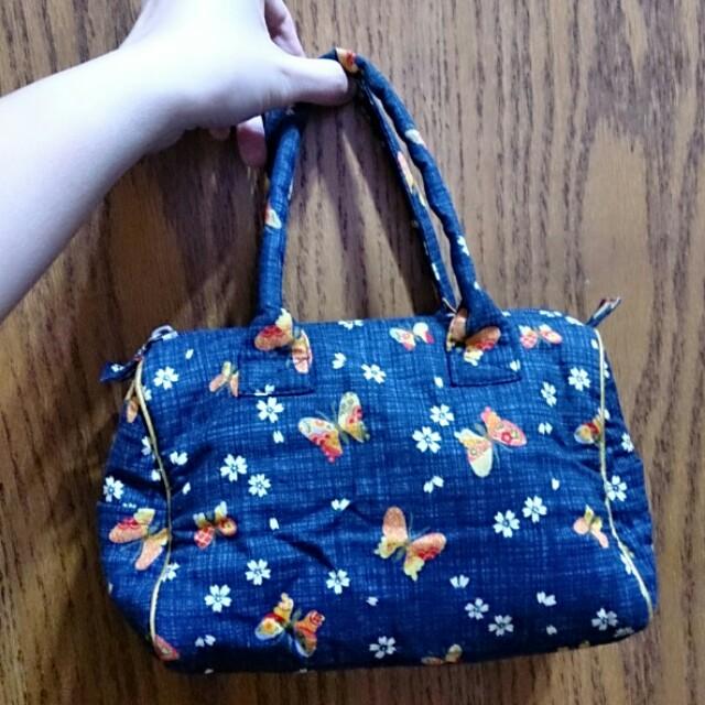 日本古風 藍色櫻花手提包