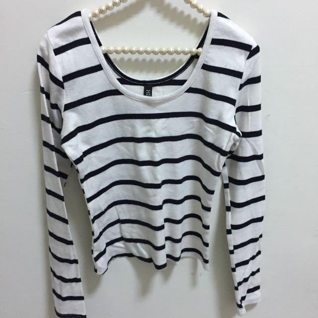 🤡(💁🏼 二手の 上衣💁🏼)短板條紋長袖上衣-白