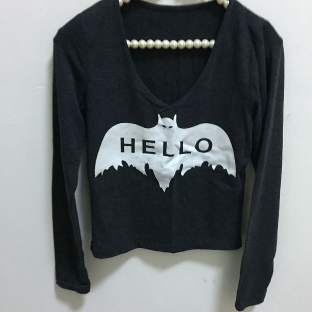 🤡(💁🏼 二手の 上衣💁🏼)短板長袖上衣灰色-蝙蝠
