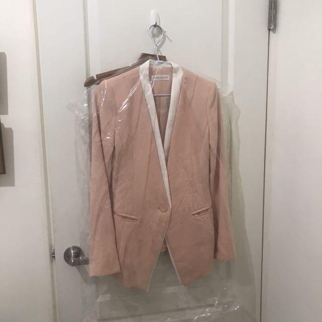 一折出清|正韓貨 杏粉色 完美剪裁腰身 西裝外套 西外 無領 喜酒 正式 婚禮 婚宴