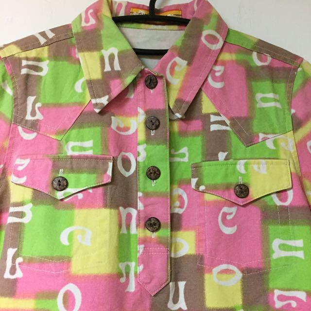 日本 原宿系品牌 cocolulu 彩色字母 牛仔布 上衣