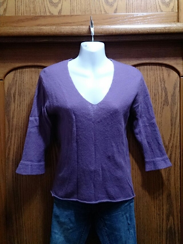 百貨公司專櫃 ESPRIT 紫色七分袖針織毛衣 L號