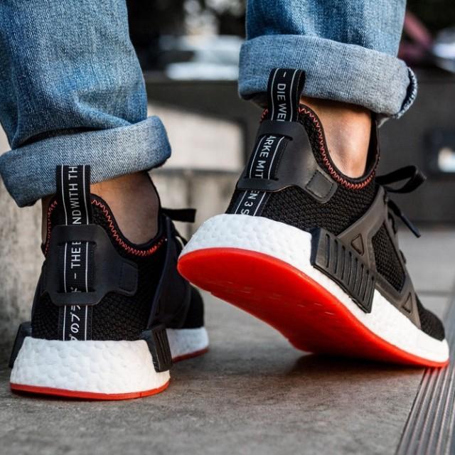 adidas nmd black solar red
