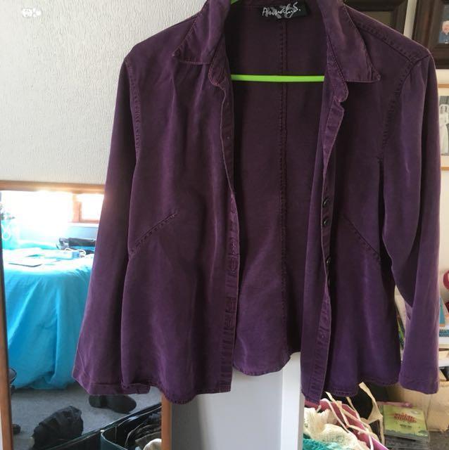 Annah S Purple Denim-Style Jacket