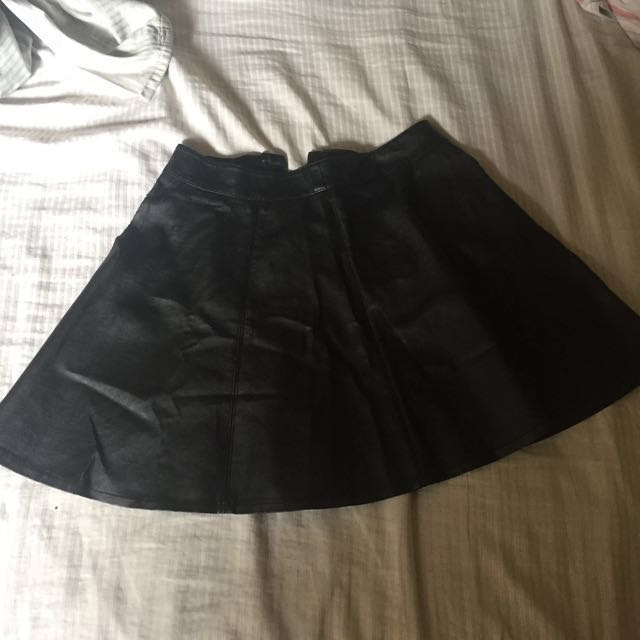 Authentic H&M Black Leather Skirt