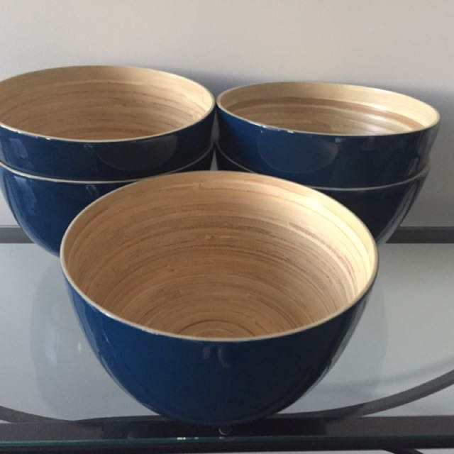 Bamboo bowls x5