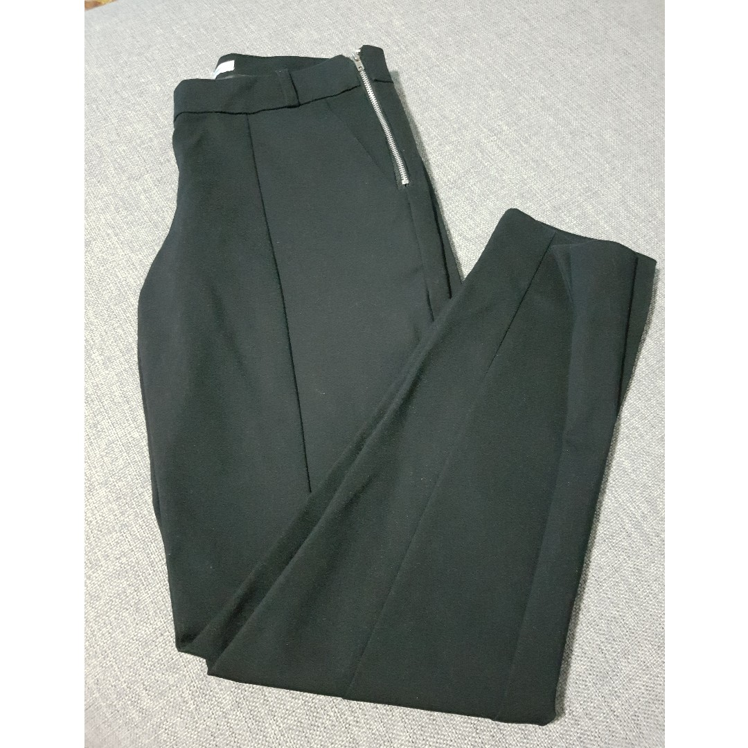 Black Fitted Trousers With Side Zipper