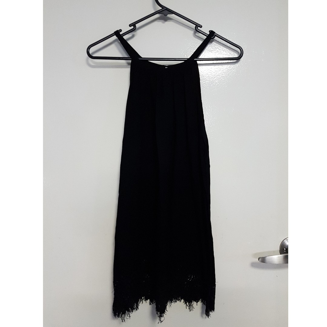 Black Singlet with Lace Detail