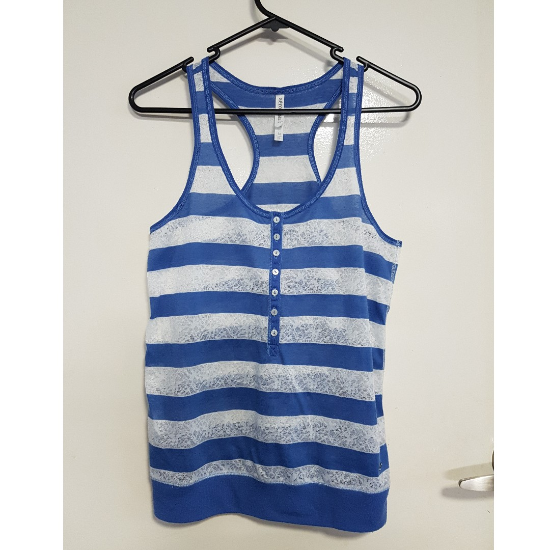 Blue/White Striped Singlet