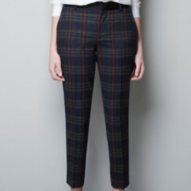 BNWT Authentic Zara Luxe Plaid Checkered Pants Trousers XS