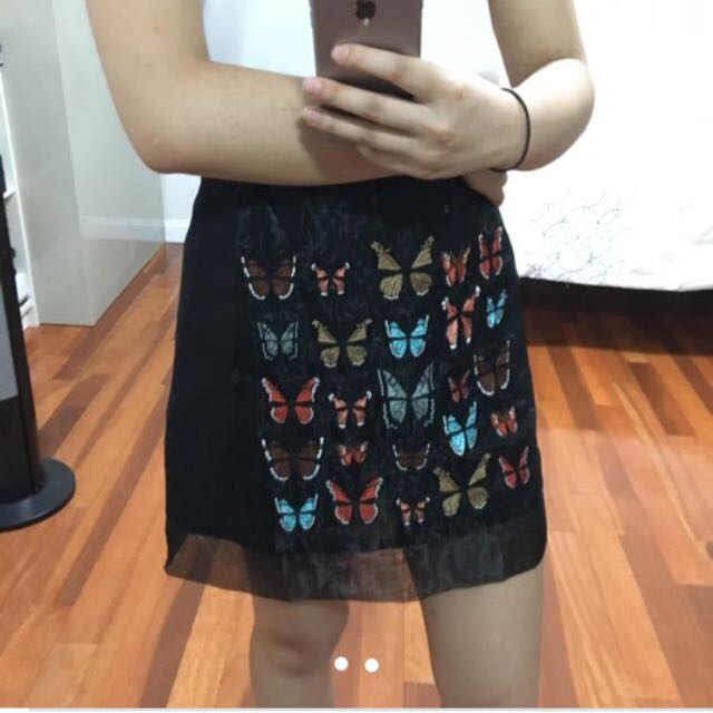 Butterfly Embroidery Skirt Topshop