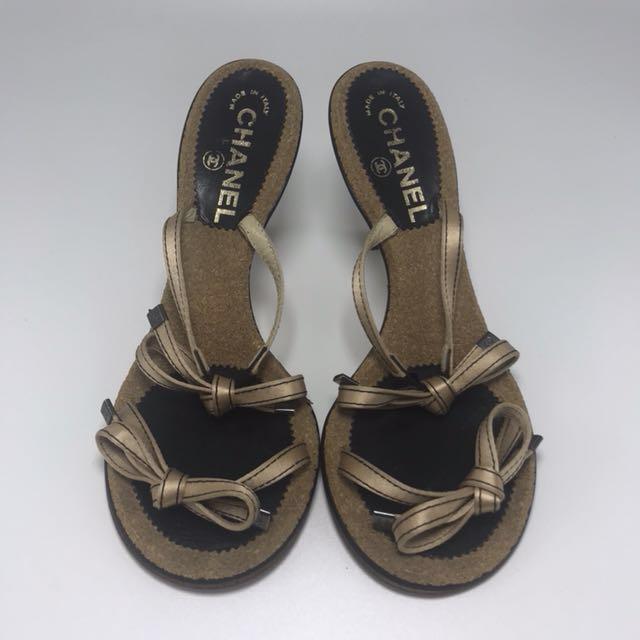CHANEL Ori Sandals Heels Shoes Sepatu Sz 38 Ribbon Satin