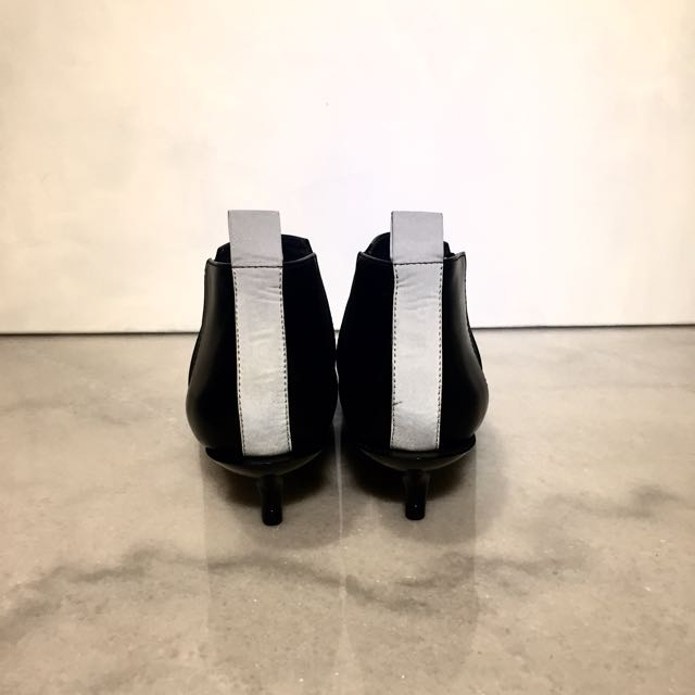 9ca1621ae37b Cheap Monday Bat Black Kitten Heels Ankle Boots