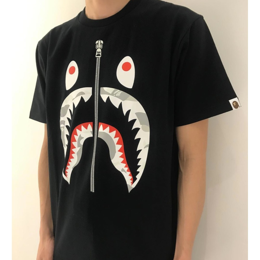 5c64b90d City Camo Shark Tee Black/White by BAPE, Men's Fashion, Clothes on ...