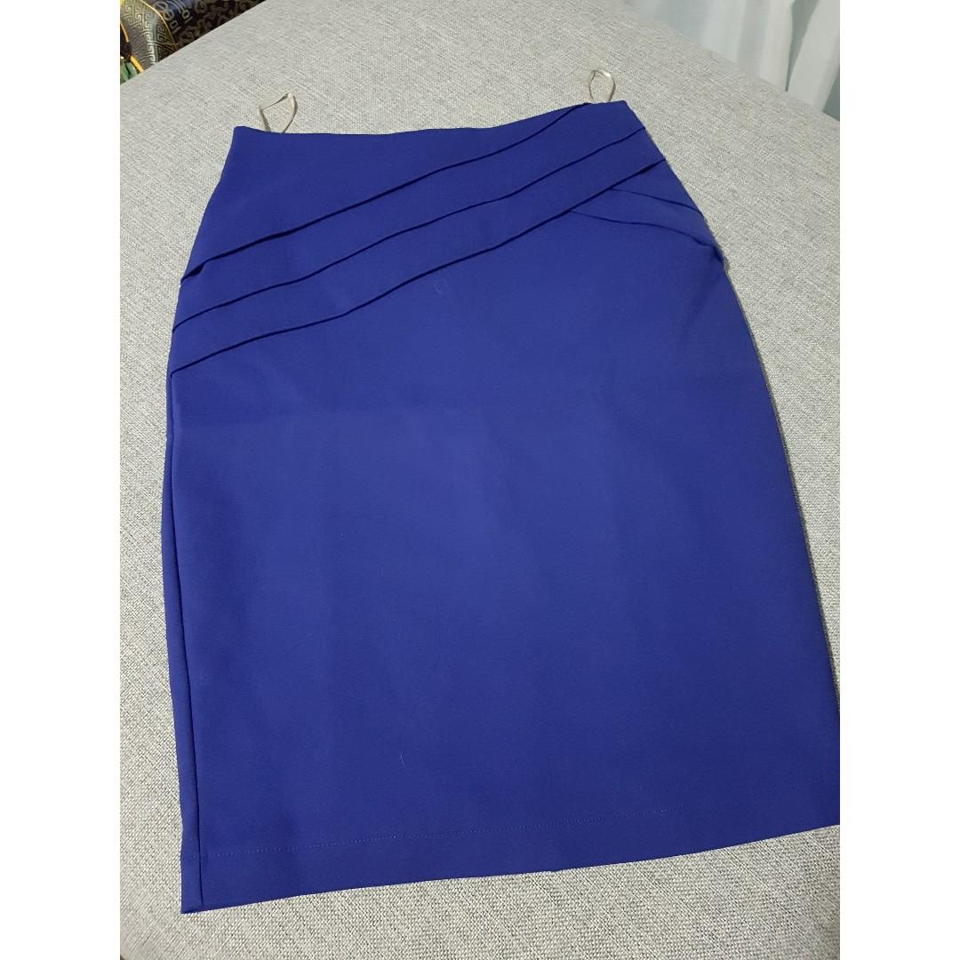 Cobalt Midi Pencil Skirt