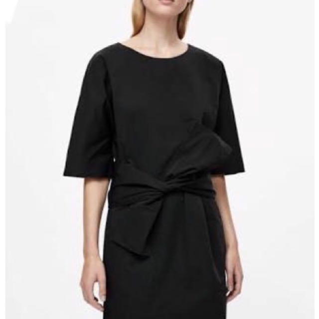 Cos - black front tie dress