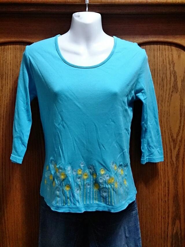 百貨公司專櫃COZZI 藍色七分袖刺繡上衣  M號