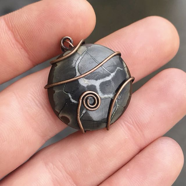 Dino bone / septarian gemstone pendant