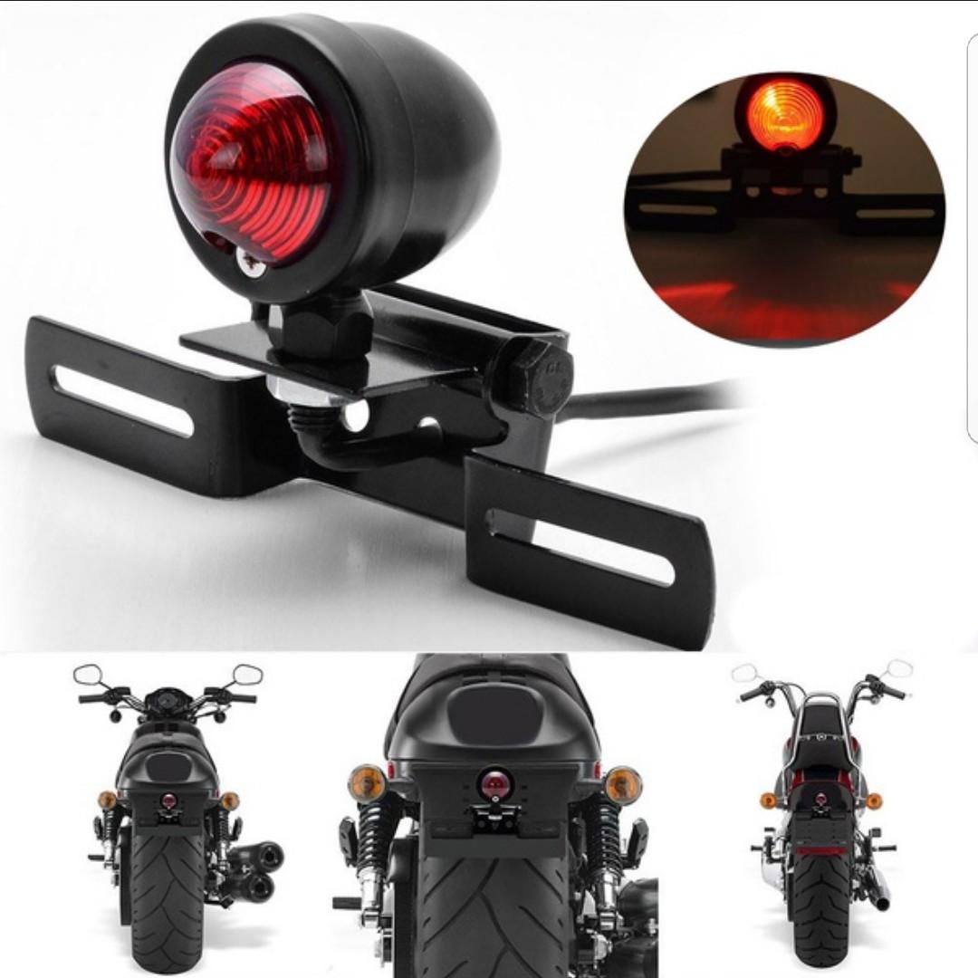 Diy Motorcycle Tail Brake Light License Plate Holder For Cafe Racer