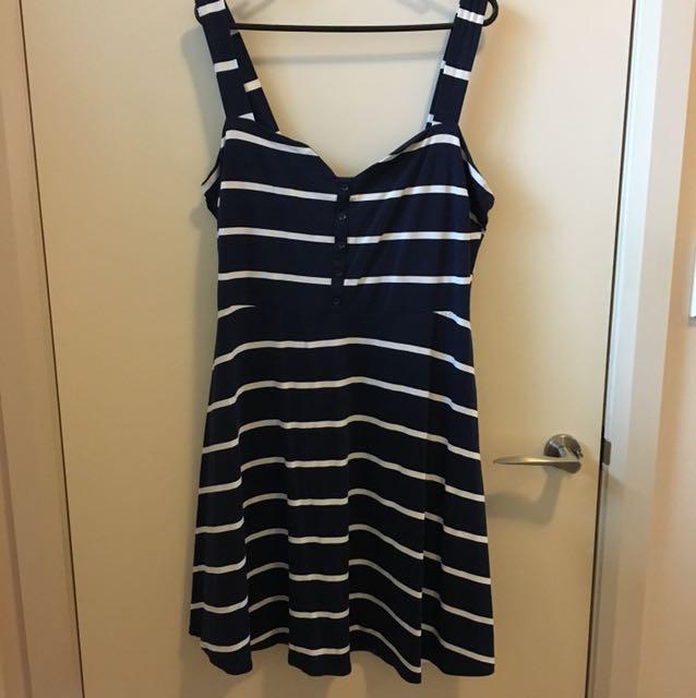 Dorothy Perkins Navy Striped Dress Size 16