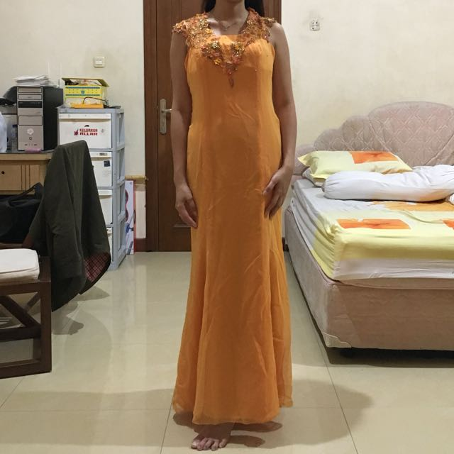 Dress pakaian pesta orange murah maxi panjang