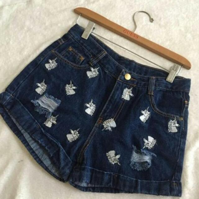 Embroidered Unicorn Denim Shorts (Medium)