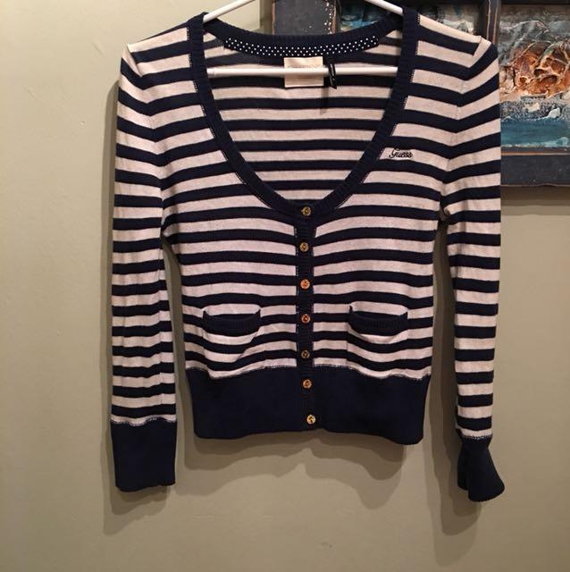 ⚫️FREE Guess Medium Crop Striped Sweater