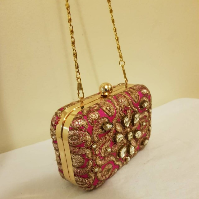 Fuchsia box clutch