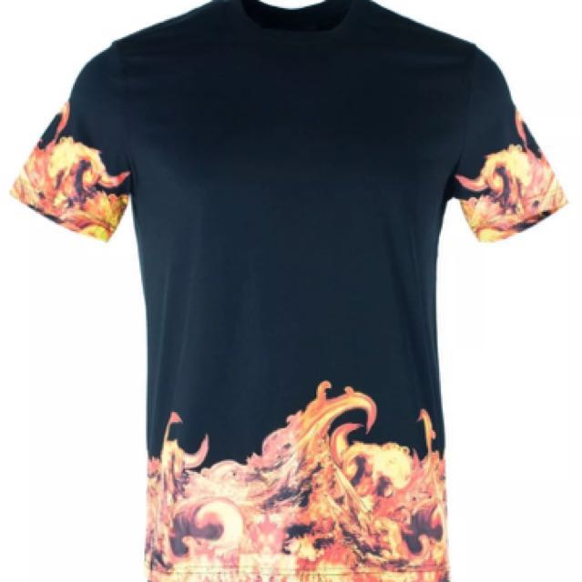 Givenchy Men's 100% Cotton Black Flames Graphic T-Shirt Size XXL