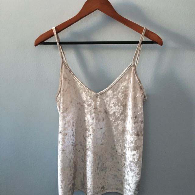 Gold crushed velvet women's tank top