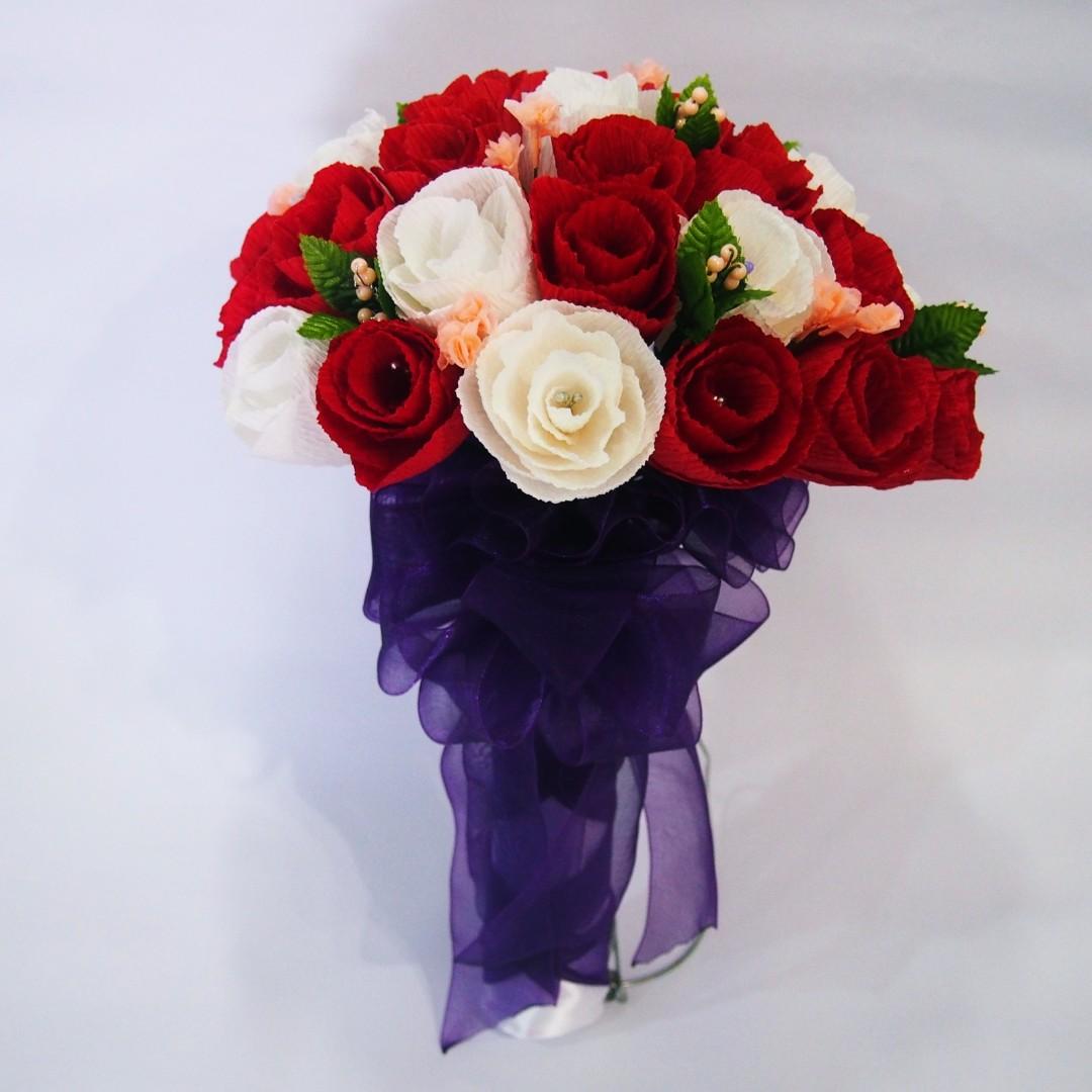 Handmade crepe paper rom wedding rose flower bouquet design craft handmade crepe paper rom wedding rose flower bouquet design craft handmade goods accessories on carousell mightylinksfo