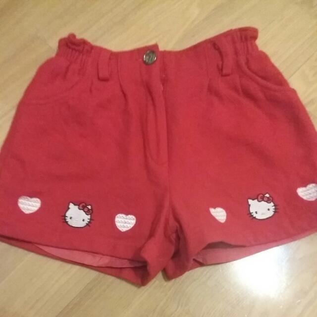 Hello Kitty 毛料紅色冬天短褲
