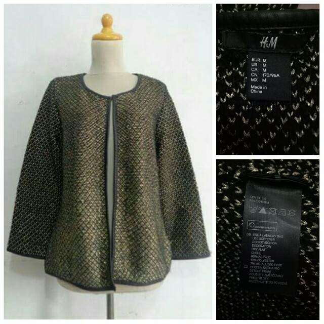 H&M Black-Gold Leather Lining Outer