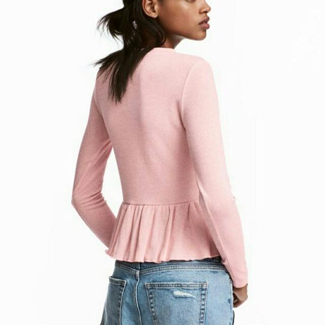 H&M glittery peplum blouse long sleeve formal casual top
