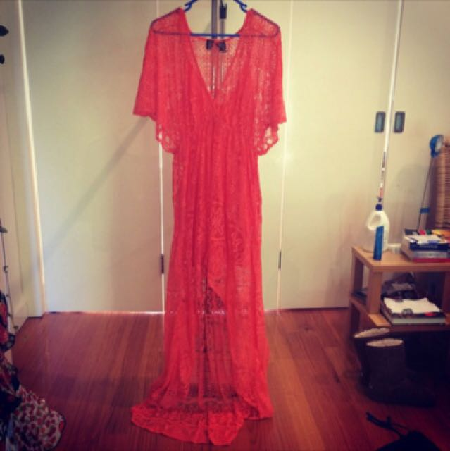 H&M Orange Lace Hi-lo Maxi dress