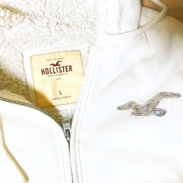 (美國購回)Hollister 專櫃正品 白色連帽厚外套 銀色亮片海鷗logo S號