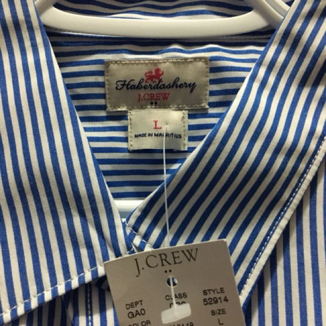 J Crew Blue and White Pin Striped Oxford Shirt