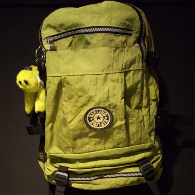 正品Kipling 後背包 容量很大 草綠色質感超棒 猩猩包 猴子包