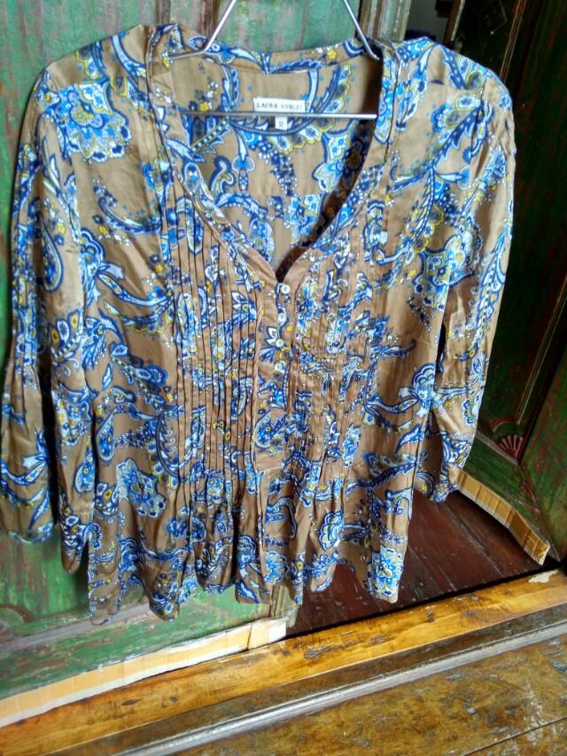 Laura ashley loose batik blouse