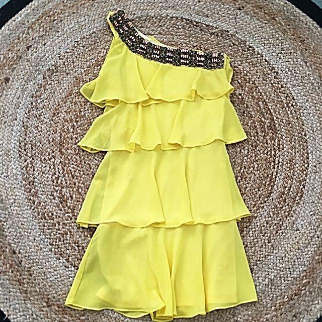 Lili: Yellow Ruffle Dress