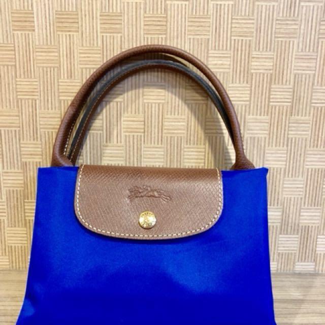 (全新)Longchamp 短把 M號 水餃包 藍色