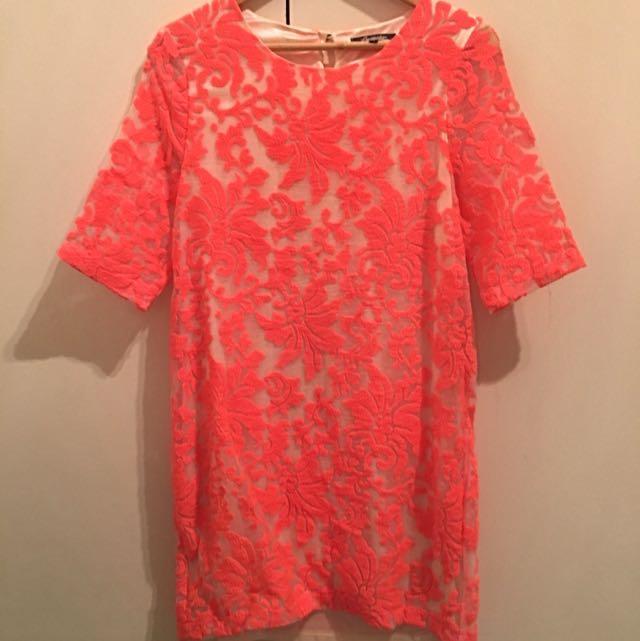 Lumier: Coral Shift Dress Sz S