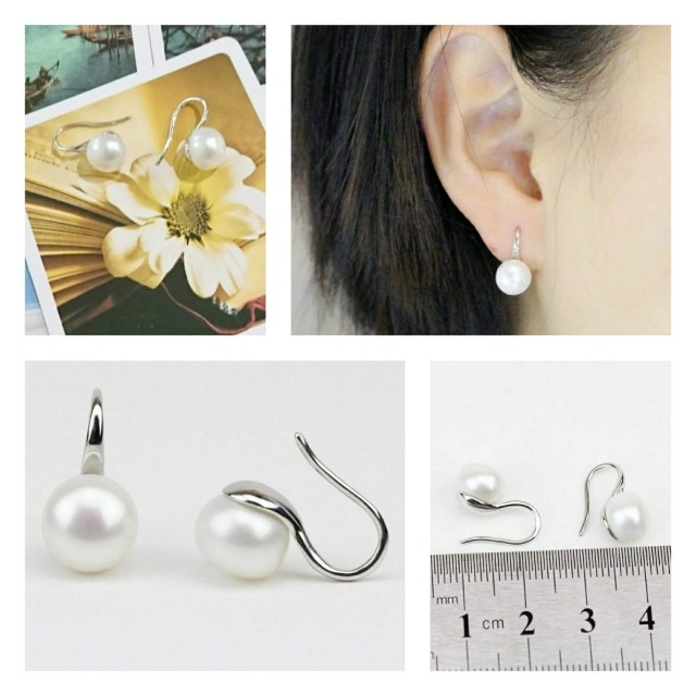 """[MerryCharms.com /Day 21] DY21145 """"Bright"""" Cultured Freshwater Pearls Push Back Earrings"""