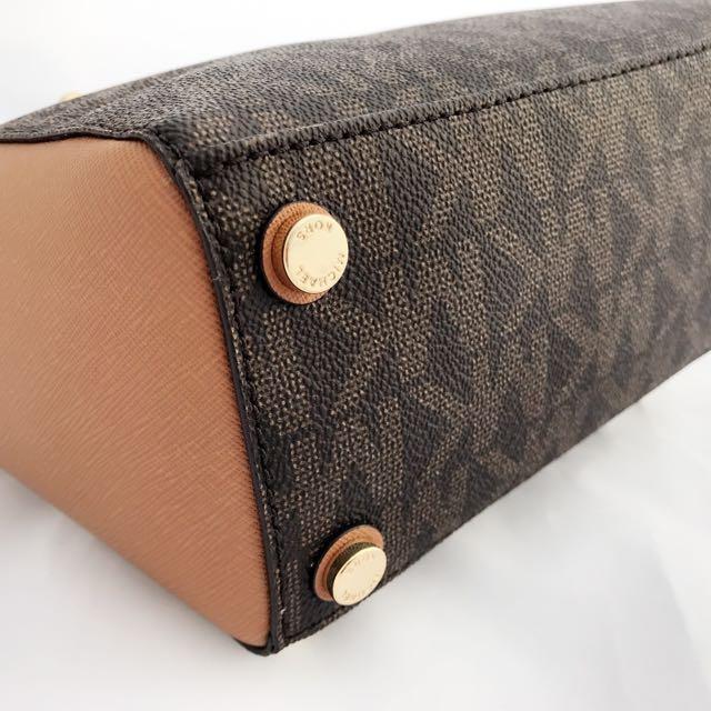 33a0a9b514 Michael Kors Sandrine Pyramid Stud Mini Tote Crossbody Bag Brown MK  Signature