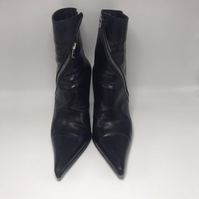 MICHEL PERRY ORI 37.5 black leather zipper boots sepatu shoe