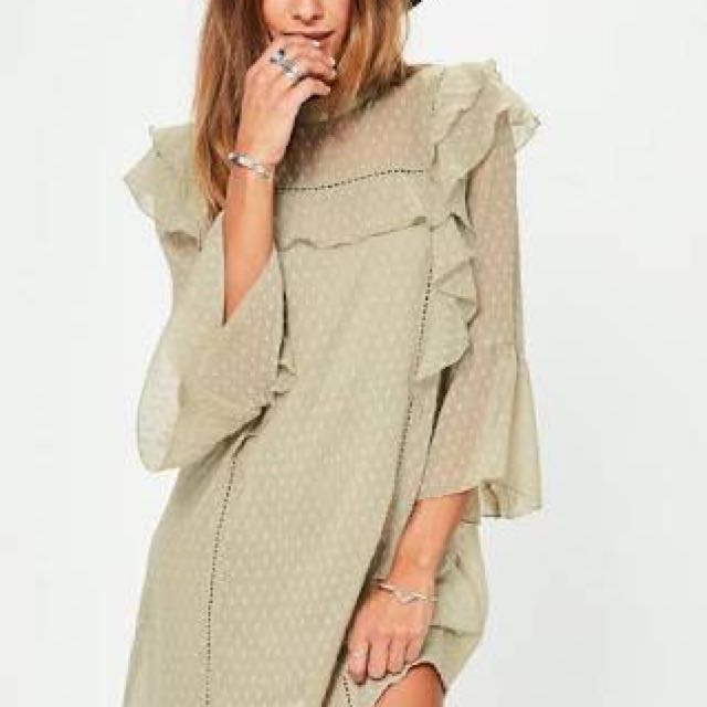 Missguided Green Frill Dress