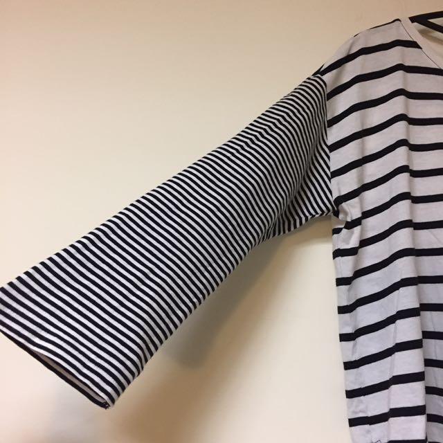 Monki 七分袖 條紋 上衣