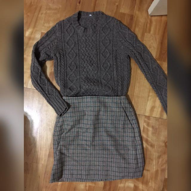 MUJI粗針麻花編織毛衣(針織衫)